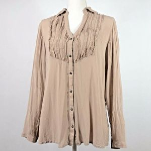Express Womens Large Blouse Faded Pink Button